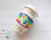 Crochet Coffee Cozy Rainbow Striped Unicorn Glitter cup cozie, tea sleeve, stocking stuffer, Perfect for starbucks ceramic plastic cups