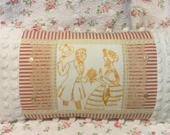 Cottage chic, shabby, crinoline couple pillow