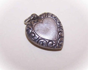 Vintage STERLING SILVER Puffy Heart Charm - Heart Center with Scrollwork Border