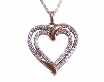 Sterling Silver, Vermeil & Diamond Heart Pendant Necklace