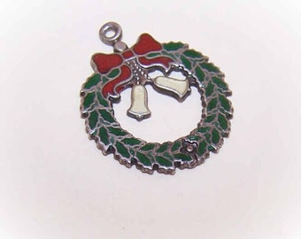 Vintage STERLING SILVER & Enamel Charm - Christmas Wreath