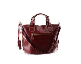SALE - Burgundy Leather Handbag, Women Leather Purse, Shoulder Leather bag, Handbag with tassel.