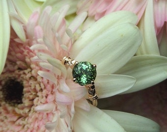 Summer Sale Green Tourmaline Engagement Ring, Tourmaline and Diamond Ring, 18k Rose Gold OOAK E Ring -- Ready to Ship