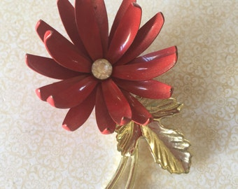 Vintage Jewelry Red Retro Enamel with Rhinestone Center Blossom Flower Brooch cottage or shabby chic jewelry