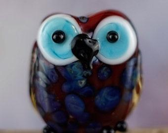 Judd....... lampwork owl bead..... sra