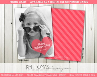 Sweetheart Valentine's Day Photo Card : Printable Photo Valentine's Day Card - Pink Heart - Item VA107