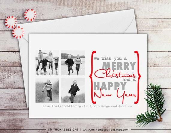 Printable Holiday Photo Card - Photo Christmas Card - New Years Photo Card - Red Holiday Card - Red Diagonal Stripes - WH135