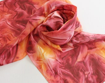 Hand Painted Silk Scarf - Handpainted Scarves Maroon Burgundy Dark Red Yellow Gold Mustard Minnesota Gophers Autumn Fall
