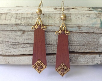 Large Wood Veneer and Brass Earrings