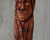 Cedar Staff, Indian Walking Stick Carving - Staff - Hand Carved Indian Hiking Stick, Wood Carvers of Etsy