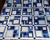 "Queen Size Quilt, Blue and white Patchwork quilt, 87""x87"", Blue and white Queen size quilt, Queen size patchwork, machine quilted"