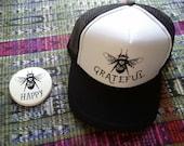 Bee GrateFul Trucker Hat/ Trucker Hat/  Bee Keeping/ Honey/ Gardener/Homesteading/Grateful Dead/ Gratitude/ Inspire/ Affirmation/black hat/