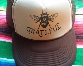 Bee GRATEFUL Trucker Hat/ Grateful/ Bee/ Bee keeping/ Brown trucker hat/Homesteading/Yoga/ Grateful Dead/ Unisex/ Man Gift/ gardener/Herb
