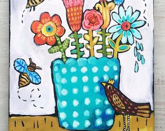 Folk Art Floral Painting on Canvas