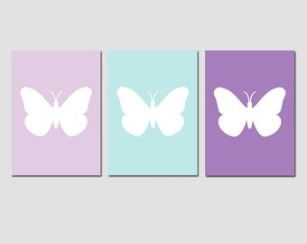 Butterfly Nursery Art - Set of Three Prints - GIRL NURSERY DECOR - Choose Your Colors - Shown in Lavender, Pale Aqua, Purple and More