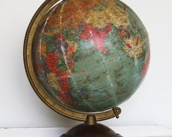 "Vintage REPLOGLE 10"" GLOBE- on Axis- 1940's World Map- Damaged- World Globe"
