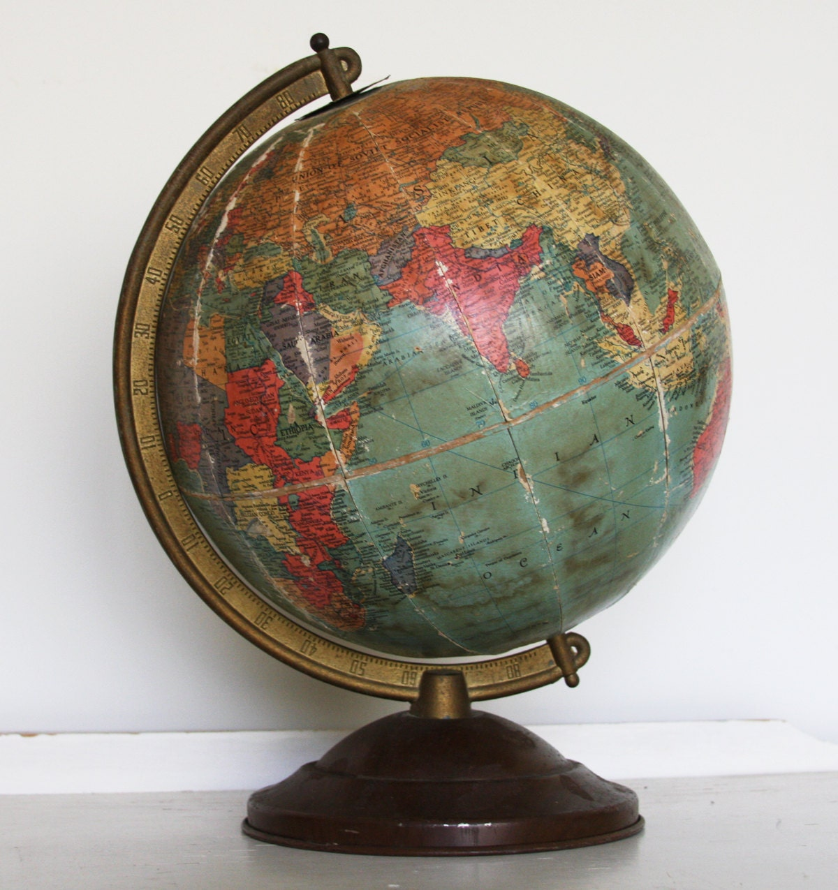 vintage replogle 10 globe on axis 1940 39 s world. Black Bedroom Furniture Sets. Home Design Ideas