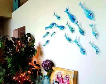 Fused Glass School of Fish - Set of 15