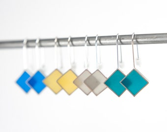 Panic Earrings resin and sterling silver earring- gray yellow blue gift