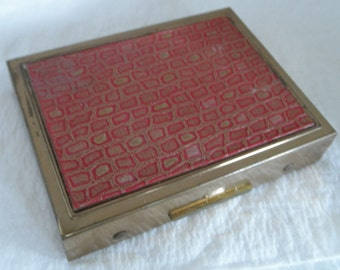 Vintage Zell Fifth 5th Avenue Compact with Faux Tile / Brick Red Lid
