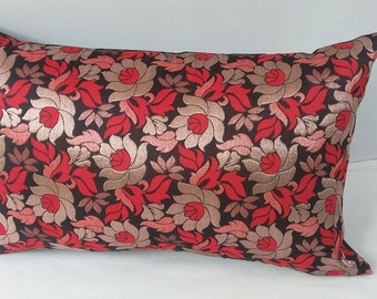 red and gold floral banaras decorative  pillow. Luxury pillow covers.12x18,12x20, 12×22, 14×24 inches