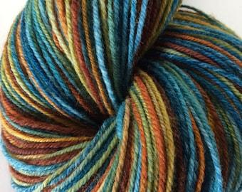 "Handspun Yarn Sock Yarn ""Fernweh"" organic polwarth 450 yds Nest Fiber Studio"