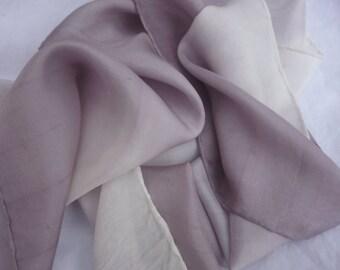 """Silk Scarf Natural Dye Lavender, Silver Gray Ombre Lavender and White Silk Scarf 8"""" x 52"""" Hand Dyed Silk Scarf Lavender Gray Silk Scarf"""