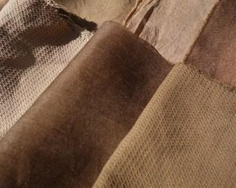 "Walnut Dyed Silk Fabrics  Natural Dye Silk Walnut Brown Tan Silk Variety of Silk Fabrics 15 Pieces 5"" x 6"" to 10"" x 12"" Plant Dyed  Fabric"