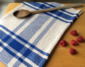 Handwoven royal blue & ivory farmhouse plaid kitchen dishtowel tea towel