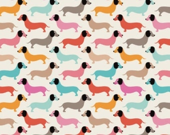 Dog Fabric - Vintage Doxie Dogs Dachshund Illustration Pattern Fabric By Little Smile Makers - Dog Fabric with Spoonflower - By the yard