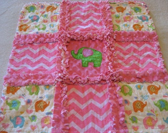 New Baby Girl Elephant Rag Quilt Blanket 22x22