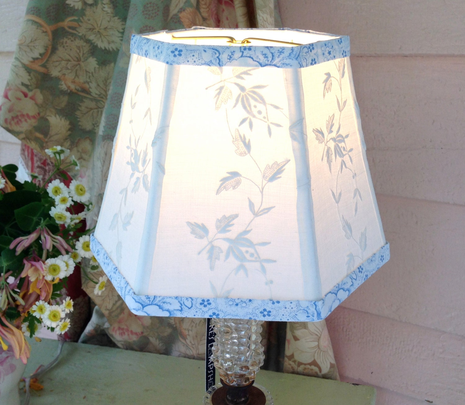 small fabric lamp shade lampshade in vintage cream embroidery. Black Bedroom Furniture Sets. Home Design Ideas