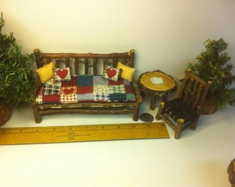 "Rustic Miniature  1"" scale Day bed Couch, table, chair, tatted doily.  DH Dollhouse Furniture Set"