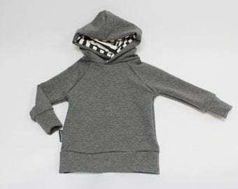 Charcoal Heather / Black and White Bamboo Pullover Hoodie