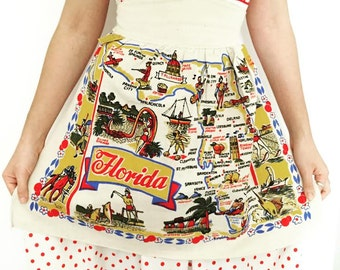 Vintage Florida apron 1940s souvenir cactus cloth MWT tag kitsch Floridiana vacation
