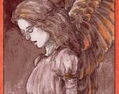 Michael Zulli // OOAK Original Art Bookmark // Red Angel