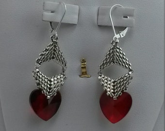 Briolette Bauble Earrings with Ruby Crystal Hearts