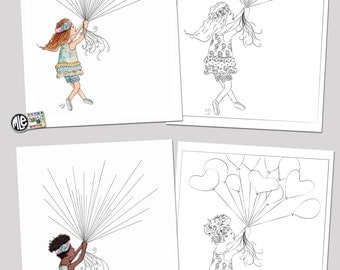 Balloon Girl Fingerprint Craft and Coloring Page-DIGITAL DOWNLOAD
