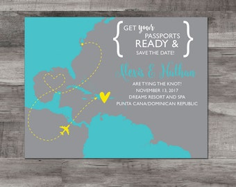 Destination wedding Save the Date – Dominican Republic Destination Wedding – Map Save the Date - Wedding Save the Date - Caribbean wedding