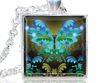 "Neon Butterfly 1"" Square Glass Pendant or with Necklace - SQ153"