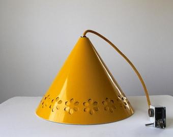 Mod Flower Power Lightolier Pendant Light, SALE, Vintage Yellow Metal Lamp Shade, Scandinavian Modern Home
