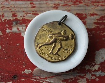 1922 Chicago Inter-City Ice Skating Championship Medal, Schoolboy Winter Sports, Antique Chicago Souvenir