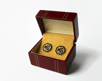 Vintage MG Motorcars Cufflinks, 1950's Sportscar Accessories, Morris Garages, Great Britain