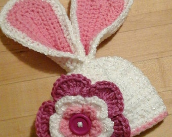 Big Flower Bunny Hat, Newborn Size Ready to ship. Custom order available all sizes.