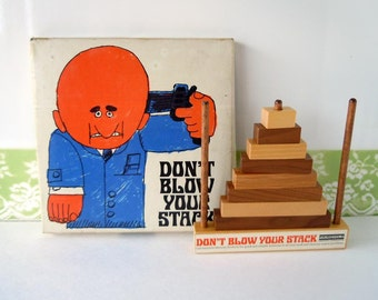 Vintage 1960's Memory Game | Stackable Tree Puzzle | Don't Blow Your Stack | By Fairchild Memory Products