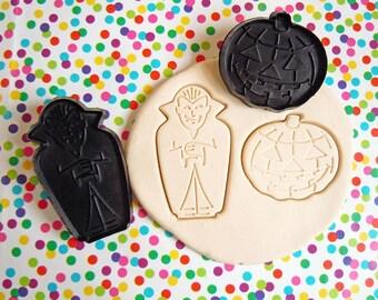 Halloween Vampire Dracula Pumpkin Jack O Lantern Cookie Cutter Black Plastic Fondant Imprint Cookie Cutter