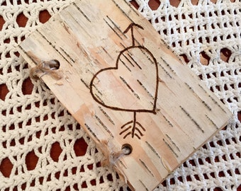 Birch bark & burlap covered small guest book or journal engraved with a heart and your first initials. For woodland rustic wedding vows.
