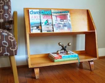 Mid Century Bookshelf, Mid Century Storage, Compact Bookshelf, Book Storage, Library Shelf, Media Storage, Magazine Storage, Toy Shelf
