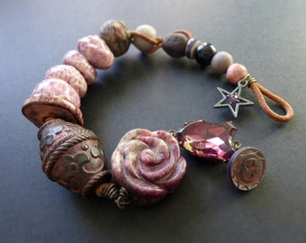 Azoth. Chunky brown assemblage bracelet.