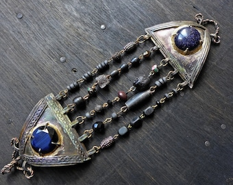Lord of the Stars. Victorian tribal artisan bracelet with antique Kuchi.
